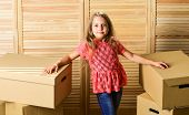 Here We Are. Cardboard Boxes - Moving To A New House. Purchase Of New Habitation. Happy Child Cardbo poster