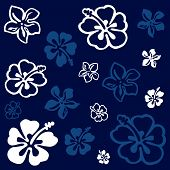 stock photo of hawaiian flower  - Squared flower pattern colored in white and blue - JPG
