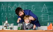 Childhood Upbringing And Education. Boy Pupil Achieving Education. School Education Concept. Teacher poster