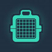 Green Pet Carry Case Icon Isolated On Blue Background. Carrier For Animals, Dog And Cat. Container F poster