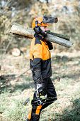 Professional Lumberman In Protective Workwear With A Chainsaw Carrying Wooden Logs During The Work O poster