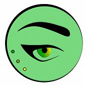 Female Yellow Green Eye With Black Arrows And An Eyebrow On Green Background. Fashion And Make Up Ic poster