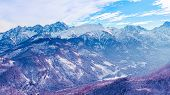 Surreal Mountain Landscape, Purple Mountains Covered With Snow, Creative Concept. poster