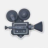 Vector Illustration. Retro Cinema Projector. Vintage Film Camera. Old Fashioned Movie Camera. Movie  poster