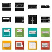 Isolated Object Of Domestic And Appliances Symbol. Collection Of Domestic And Furniture Vector Icon  poster