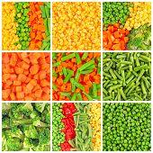 Frozen Vegetables Backgrounds Set