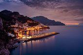 Night View Of Amalfi Cityscape On Coast Of Mediterranean Sea, Italy. poster