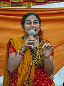 Sandhya Dave telling Indian Tales in the Story Telling Tent
