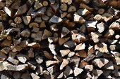 Pile Of Firewood Texture Background. Preparation Of Firewood For The Winter And Use For Cooking, Fir poster