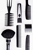 Set Of Black Hairdresser Objects On White Background. Professional Hairdresser Tools With Combs. Fla poster
