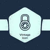 Grunge Line Safe Combination Lock Wheel Icon Isolated On Blue Background. Combination Padlock. Secur poster