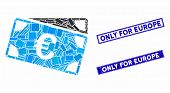Mosaic Euro Banknotes Icon And Rectangle Seal Stamps. Flat Vector Euro Banknotes Mosaic Icon Of Rand poster