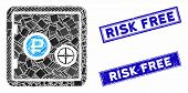 Mosaic Rouble Bank Safe Pictogram And Rectangle Rubber Prints. Flat Vector Rouble Bank Safe Mosaic P poster