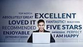 Customer Experiences Concept. A Young Happy Man Reading Positive Review Rating Via Computer Laptop.  poster