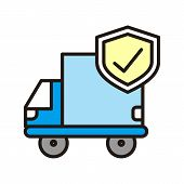Delivery Truck Icon Isolated On White Background From Insurance Collection. Delivery Truck Icon Tren poster