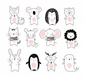 Kids Doodle Poster With Cute Animals. A Collection Of Animals In A Modern Scandinavian Nordic Style. poster
