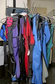 picture of osha  - a rack of lead aprons used for protection from radiation - JPG