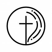 Hand Drawn Christian Cross Sign Round. Religion Symbol, Monoline Religion Icon. Signs And Symbols Ic poster