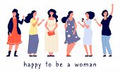 Different Body Types. Different Women Vector Illustration. Body Positive Concept, Happy Women Flat C poster