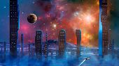 Spaceship Flying Over Haze And Smoke From Abstract Modern Sci-fi City With Colorful Fractal Nebula A poster