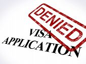 Visa Application Denied Stamp Shows Entry Admission Refused