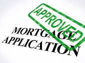 stock photo of confirmation  - Mortgage Application Approved Stamp Showing Home Loan Agreed - JPG