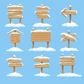 Snowy Signboards. Winter Wooden Signs, Wood Christmas Direction Arrows, Vector Xmas Snow Covered Ban poster