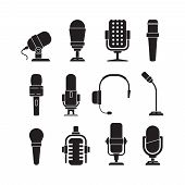 Microphone Icons. Music Singer Items Conference Recorder For Journalists Interview Tools Vector Silh poster