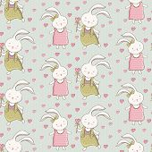Seamless Pattern With Cute Animals. Childrens Cartoon Background With Bunnies. Cartoon Bunny Boy Giv poster