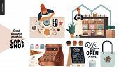 Cake Shop, Cakes On Demand - Small Business Graphics - Set -modern Flat Vector Concept Illustrations poster