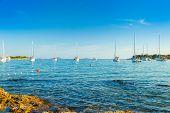 Croatia, Sailing Boats And Yachts In The Morning In Blue Bay Beach On Croatian Adriatic, Kosirina Ba poster