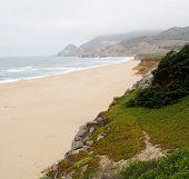 Foggy Beach And Cliffs