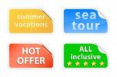 Summer Vacations Labels. Vector Illustration