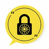 Black Safe Combination Lock Wheel Icon Isolated On White Background. Combination Padlock. Security,  poster