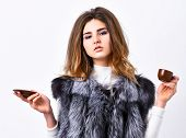 Woman Splendid Makeup Wearing Luxurious Fur Coat Drinking Hot Coffee. Enjoy Luxurious Aroma And Tast poster