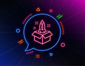 Startup Line Icon. Neon Laser Lights. Launch Project Sign. Out Of The Box Symbol. Glow Laser Speech  poster