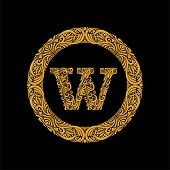 Premium, Elegant Capital Letter W In A Round Frame Is Made Of Floral Ornament. Baroque Style.elegant poster