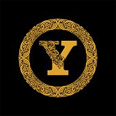 Premium, Elegant Capital Letter Y In A Round Frame Is Made Of Floral Ornament. Baroque Style.elegant poster