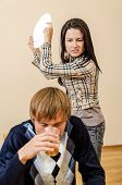 Domestic Violence: Wife Trying To Beat Her Husband With A Plate