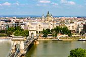 Budapest, Hungary 29 July 2019: Chain Bridge, Danube River, Gresham Palace, Saint Stephens Basilica poster