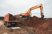Construction Excavator At Earthworks. Digging And Land Planning At A Construction Site. Construction poster