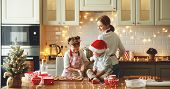 Happy Funny Family Mother And Children  Bake Christmas Cookies poster