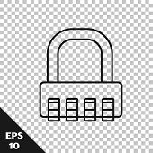 Black Line Safe Combination Lock Icon Isolated On Transparent Background. Combination Padlock. Secur poster