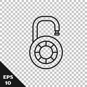 Black Line Safe Combination Lock Wheel Icon Isolated On Transparent Background. Combination Padlock. poster