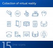 Collection Of Virtual Reality Icons. Cube In Hand, Robotic Hand, 3d Modeling. Virtual Reality Concep poster