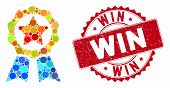 Mosaic Award Seal And Rubber Stamp Seal With Win Text. Mosaic Vector Is Designed With Award Seal Ico poster