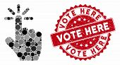 Mosaic Click And Rubber Stamp Seal With Vote Here Phrase. Mosaic Vector Is Composed With Click Icon  poster