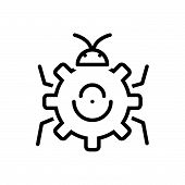 Black Line Icon For Bug-fixing Bug Fixing Technology Virus Software poster