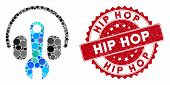 Mosaic Headphones Tuning Wrench And Corroded Stamp Seal With Hip Hop Caption. Mosaic Vector Is Creat poster