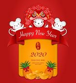 2020 Happy Chinese New Year Of Cartoon Cute Rat In Dragon Lion Dance Costume And Golden Ingot. Chine poster